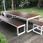 Sitzgarnitur Garten weiß mit Holz